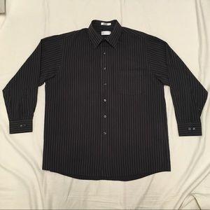 Men's Black and Grey Long Sleeve Dress Shirt